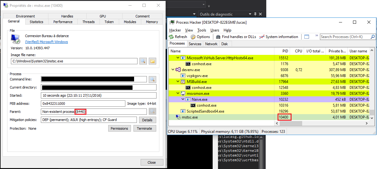 How to create and debug a process automatically on windows